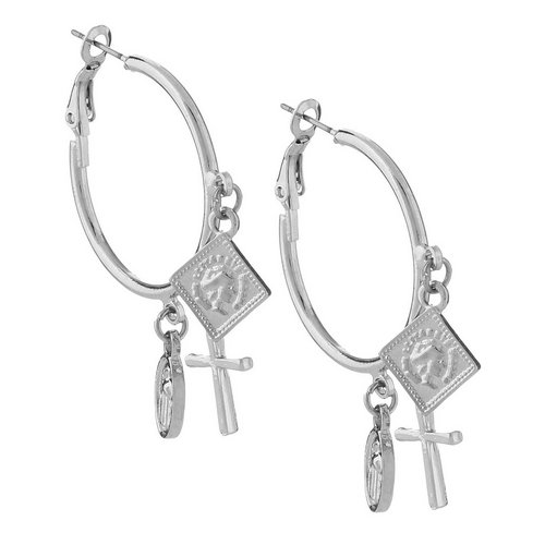 f999903d0 Charm Shake Hoop Earrings - Silver