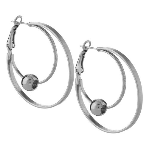 8c03a24db Double Hoop Ball Earrings - Silver