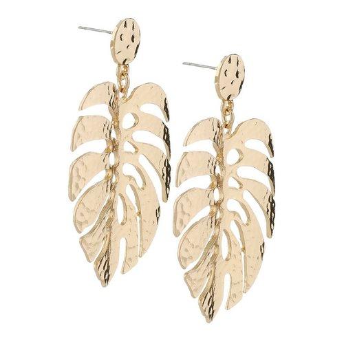 204247158 Tropical Leaf Drop Earrings - Gold