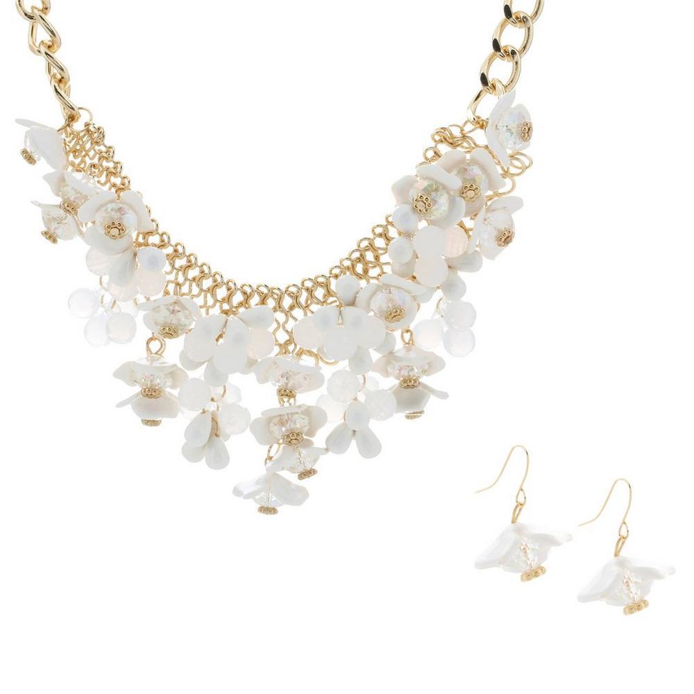 Beaded Flower Statement Necklace Earrings Set Whitegold