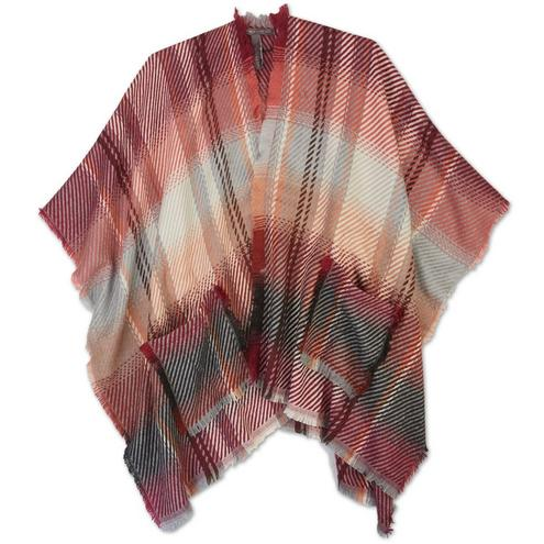 Vince Camuto Women's Plaid Frayed Cape - Wine