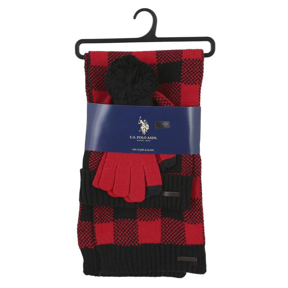 caaa568e0e0 Plaid Hat Scarf   Glove Set - Red   Black