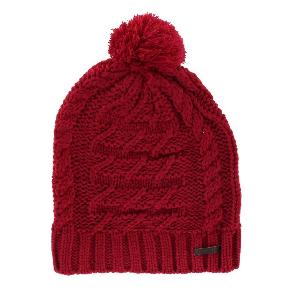 Sweater Knit Pom Beanie - Red  2ddf02ad03bd