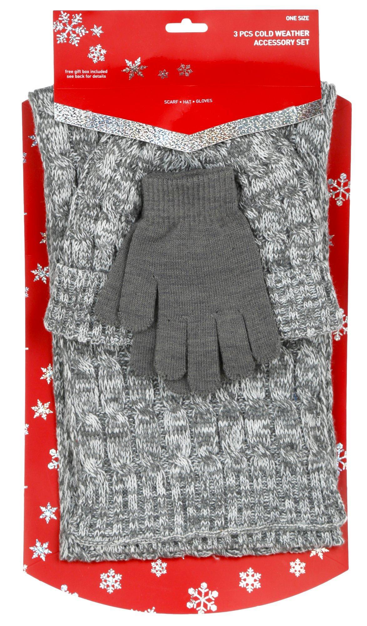 Women's 3 Pc Cold Weather Set w/ Gift Box – Grey