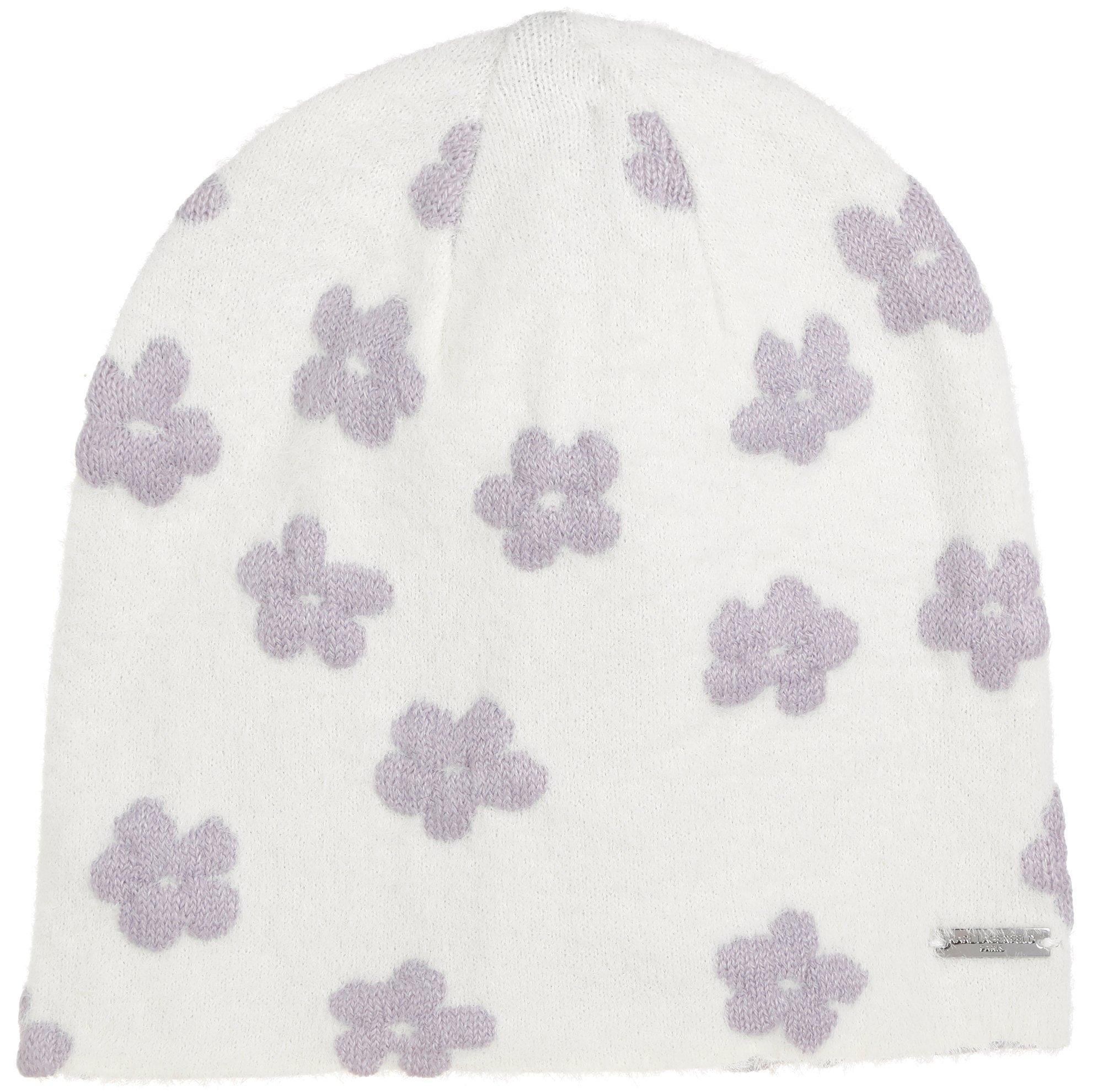 White Flower on Purple Pattern Beanie Chemo Beanie Chemo Hat Funky Hat Pattern Beanie Cancer Beanie Cute Beanie