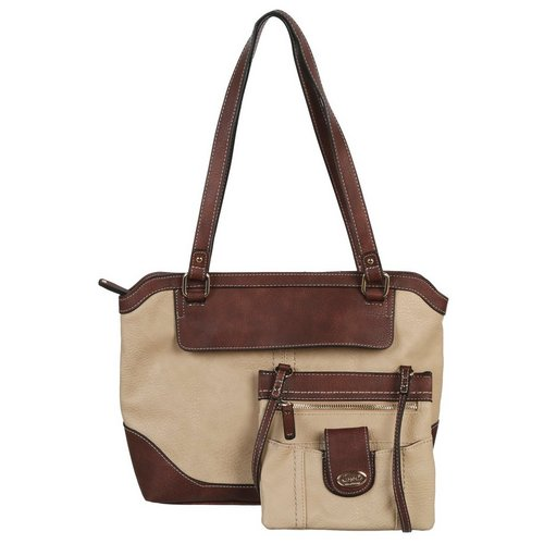 Lyford Two Tone Tote With Detachable Crossbody Stone