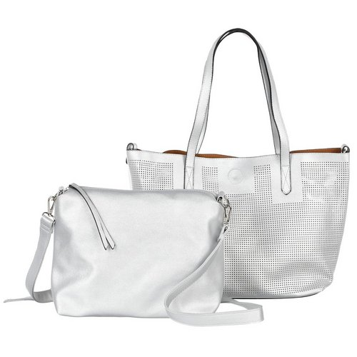 Add to bag. Perforated Tote w  Crossbody - Silver c712e8e3f7bf5