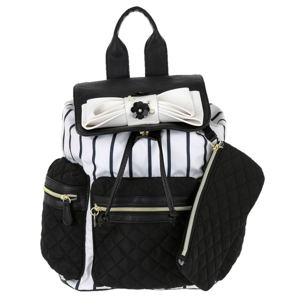 03155c860db Pin Stripe Backpack - B&W   Burkes Outlet