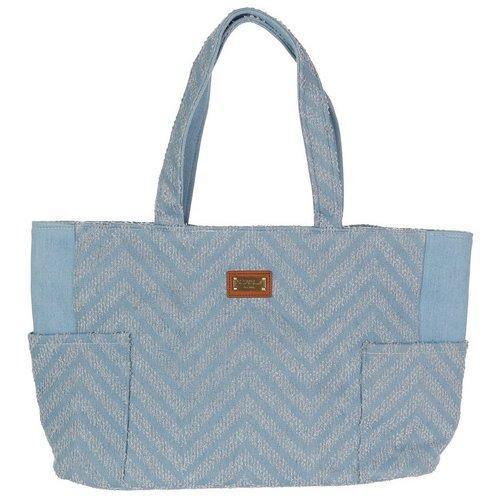 f833515edf03 Frayed Denim Tote Bag - Chambray Blue
