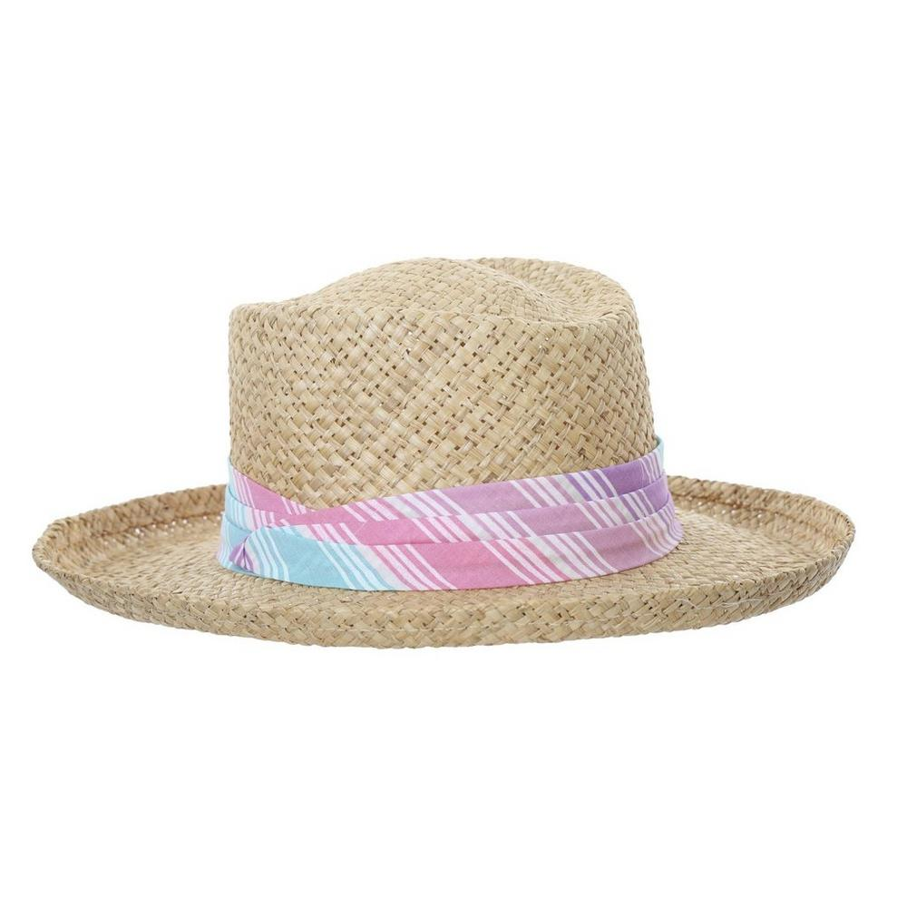 05579286a Woven Straw Hat w/ Material Trim - Pink Multi