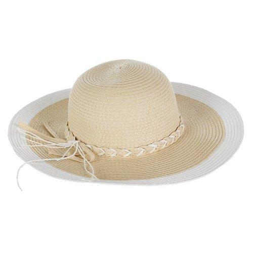ee4a355e0b0 Braided Trim Floppy Sun Hat - Natural White
