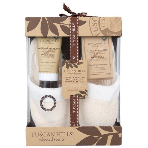 Vanilla Almond Scented Deluxe Plush Slipper Gift Set