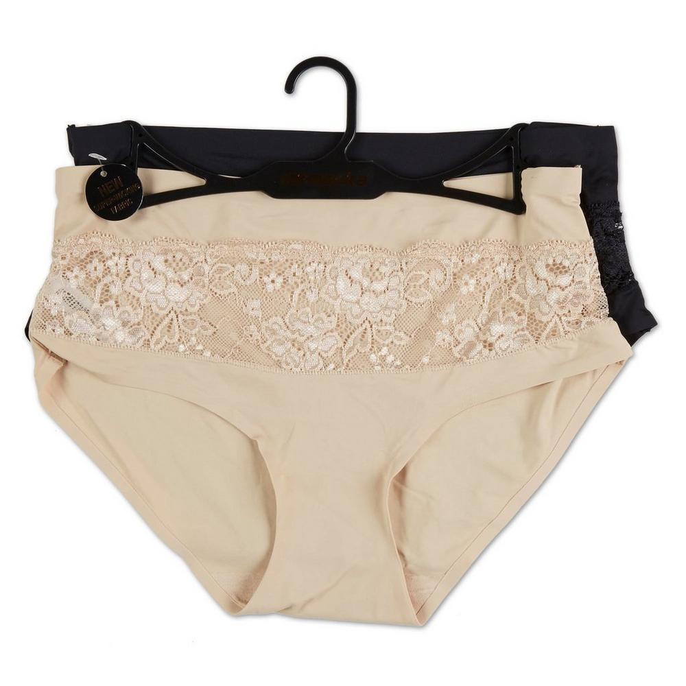 Women s Lace Stripe 2 Pc Panty Set - Nude Black  140f8101b
