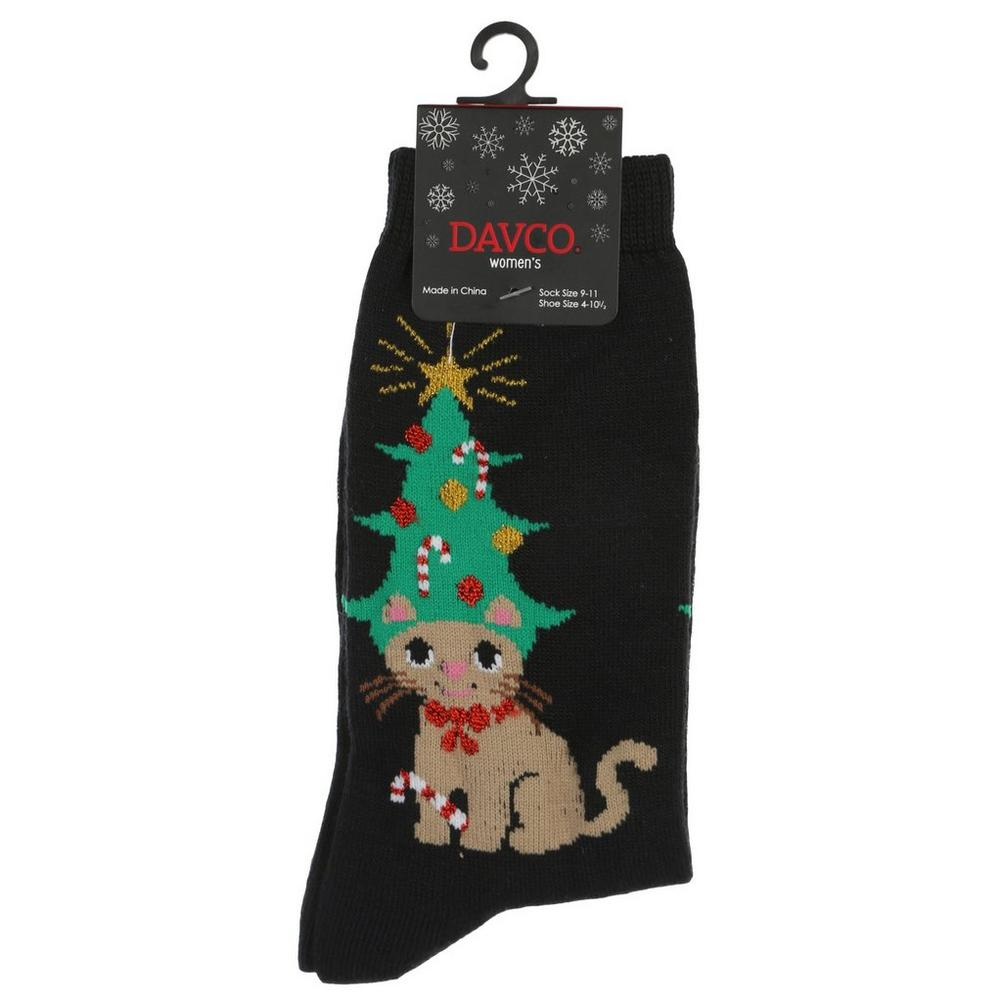 Women s Tree Hat Cat Crew Socks - Black  f3bc97e2f6