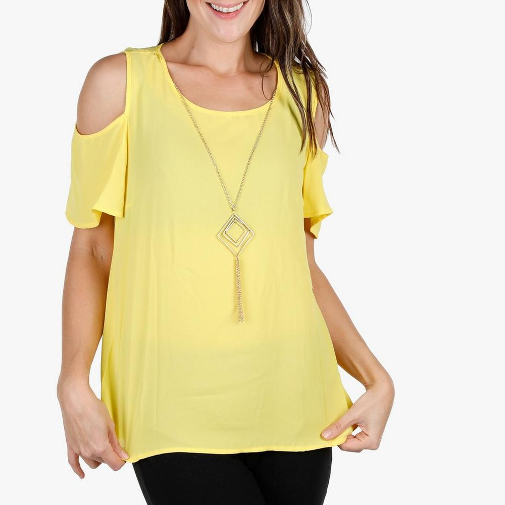 d995999eb0134d Women s Chiffon Cold Shoulder Top w  Necklace - Yellow