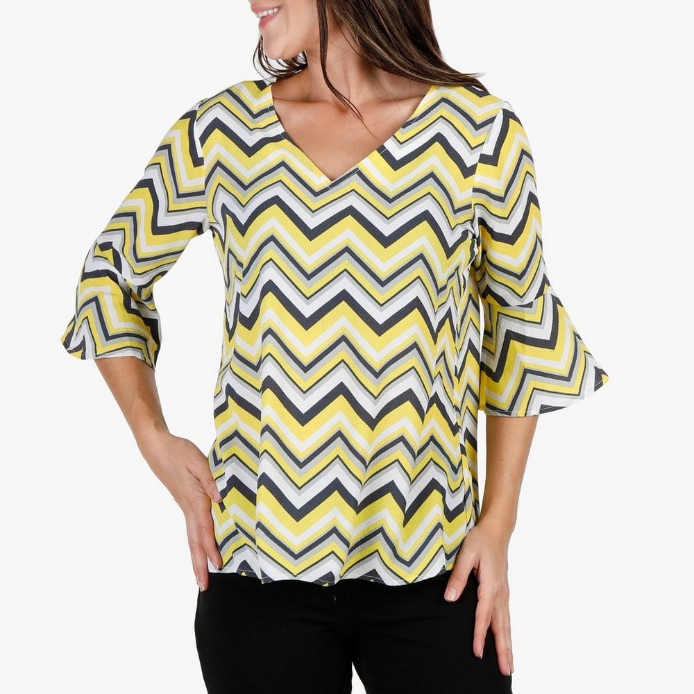 6ac2f2d2895 Women s Chevron   Bell Sleeve Top - Yellow