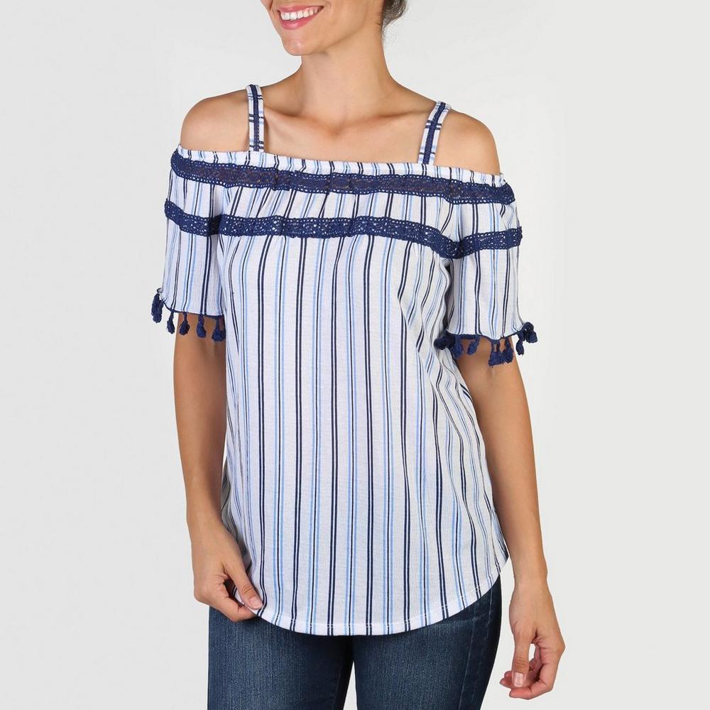 cca369650bba7 Women s Print Pom Cold-Shoulder Top - Blue