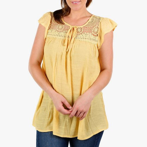 fb1fccab583 Women's Crochet Yoke Peasant Top - Yellow. S; M; L. More Sizes