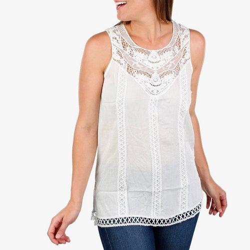1ccf8ba468d0bf Women's Crochet & Lace Sleeveless Top - White