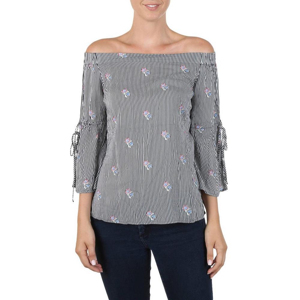 483384967338d1 Women s Stripe   Floral Off-Shoulder Top - B W
