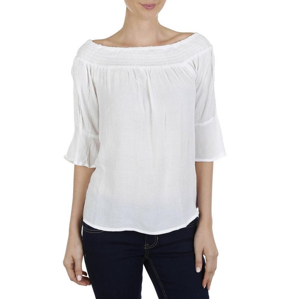 6745869461ba3e Women s Crochet Bell   Smocked Off-Shoulder Top - White