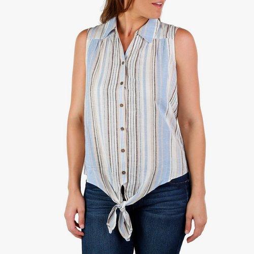 7fc0d77430 Women s Stripe Button   Tie Front Sleeveless Top - Blue