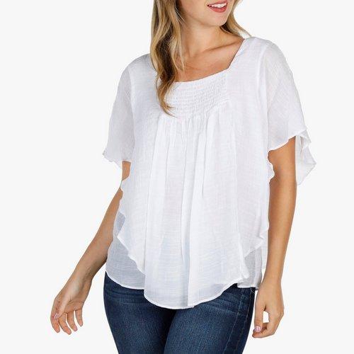 d21534de9d Women s Smocked Capelet Top - White
