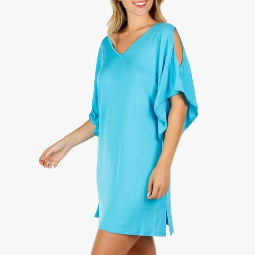 8203a0cf7da Women's Cage & Cold Shoulder Swimsuit Cover-Up - Turquoise