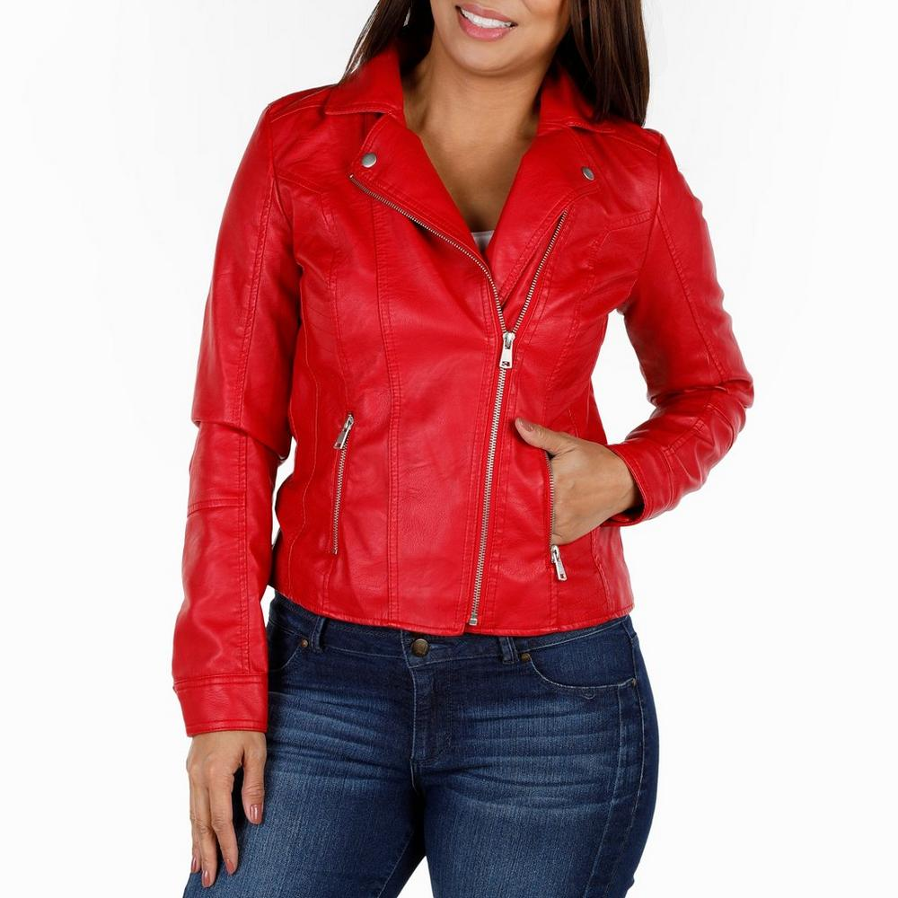 14bd3b691 Women's Moto Faux Leather Jacket - Red