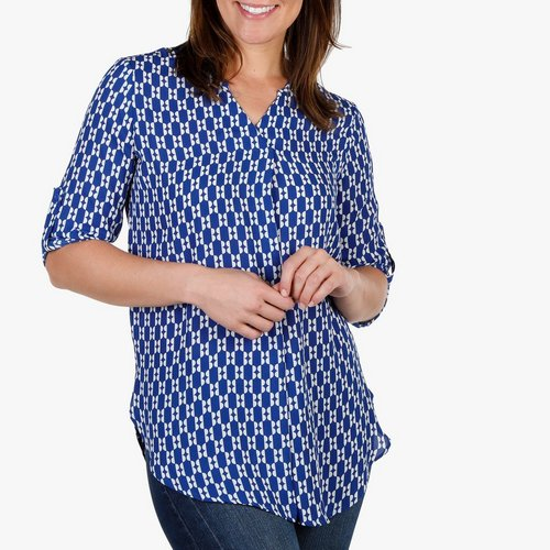 e0675af82b31d0 Women s Roll Tab Button Sleeve Top - Blue Multi. SM  M  L  XL