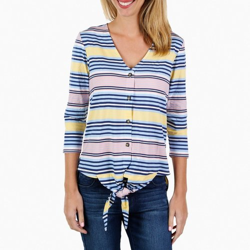 5823d45a29f14a Women s Striped Button   Tie Front Top - Multi