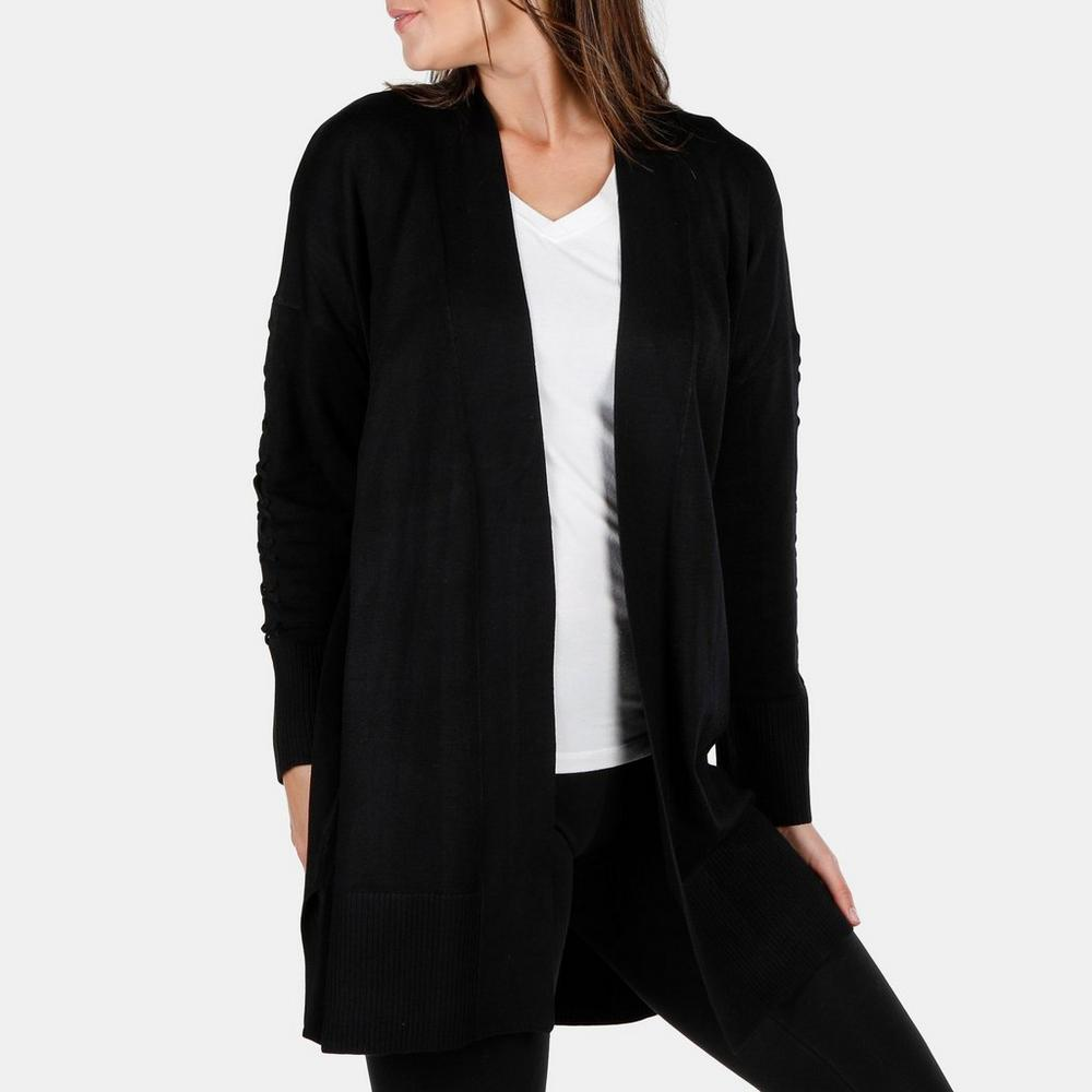 439ee90f020 Women s Lace-Up Sleeve Knit Cardigan - Black