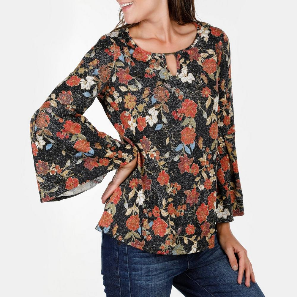 f715839f961cd Women s Floral Shimmer Keyhole Top - Multi