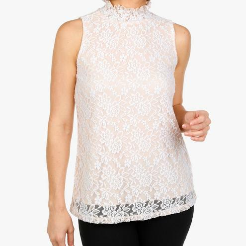 Eve & Maddie Women's Lacey Smocked Sleeveless Blouse - Nude