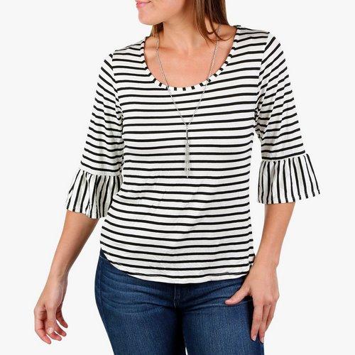 20546d87 Women's Striped 3/4 Bell Sleeve Top w/ Necklace - B&W