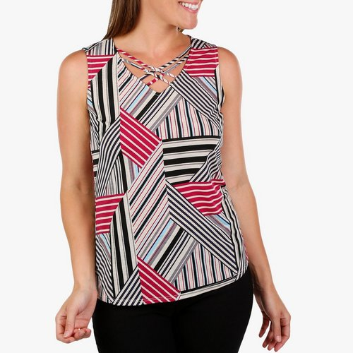 364022a3 Women's Patch Stripe & Cage Sleeveless Top - Multi