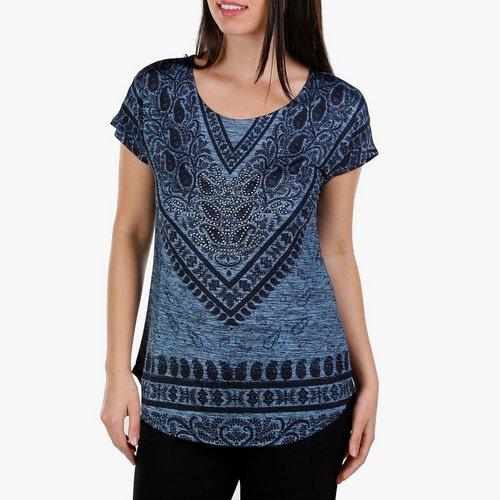 bcc8914b5560d Women s Studded Paisley V-Neck Top - Blue