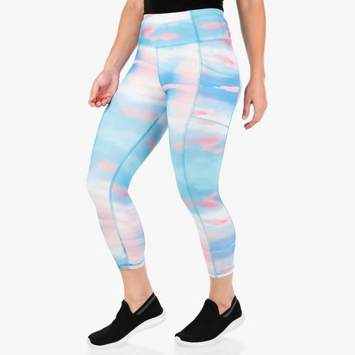 371ce1a44f500 Women's Active Tie-dye Slip Pocket Capri Leggings - Blue Multi