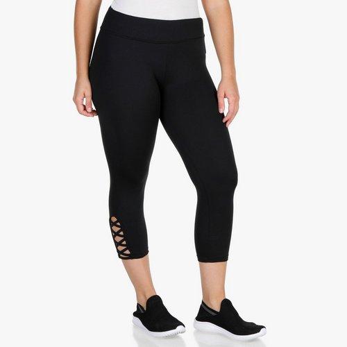 a13cf2a4bbc Junior Plus Lattice Hem Capri Leggings - Black