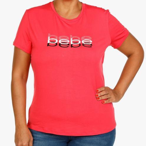 BeBe Juniors Plus Embellished Logo Tee - Coral