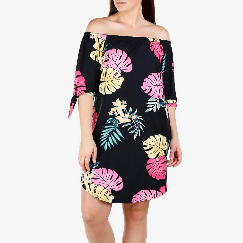 16e7b9566 Junior Plus Tropical Print Off Shoulder Dress - Black Multi | Burkes Outlet