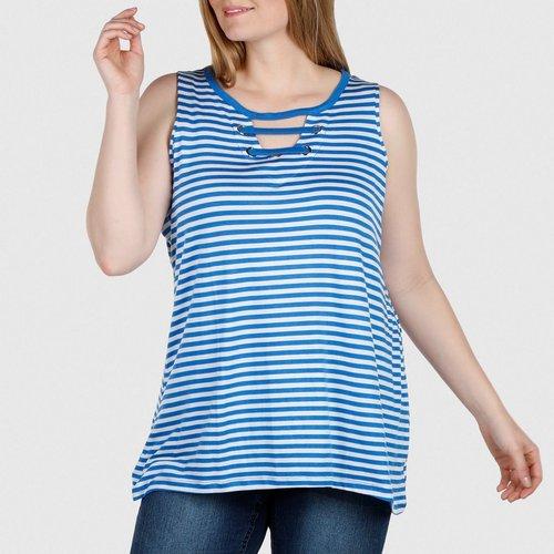 5b77d8a8e953e Women s Plus Grommet Stripe Tank Top - Blue