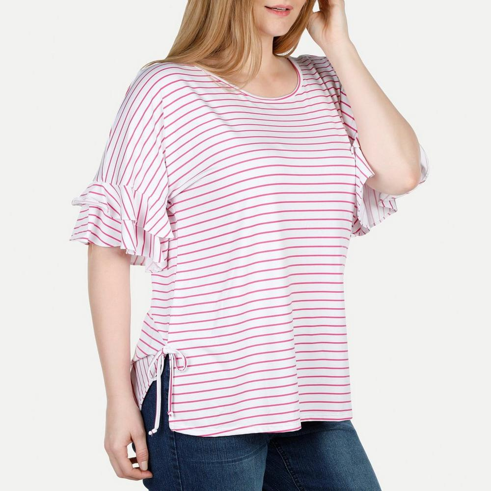 6dab5c7b967c1c Women's Plus Side Tie & Ruffle Sleeve Striped Top - Pink | Burkes Outlet