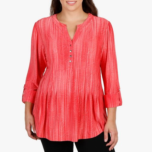 d5a2f6b4cb1 Women s Plus Pleat   Jacquard Popover Top - Coral