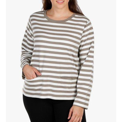 0e5ffa491fb00 Women s Plus Striped Top - Tan