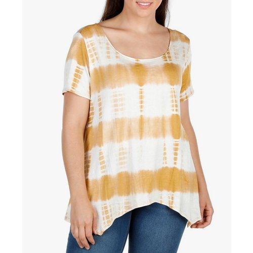59cd37e6bad46 Women s Plus Stripe Shark-Bite Hem Top - Yellow