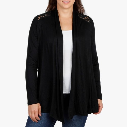 a972b598cd Women s Plus Lace Back Fly-Away Cardigan - Black. 1X  2X  3X. More Sizes