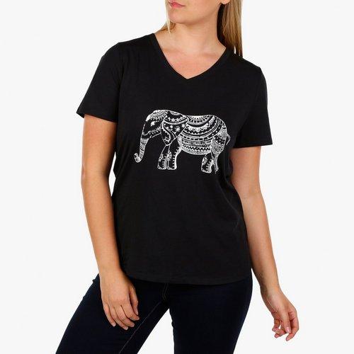 8165207c6 Women's Plus Short Sleeve Elephant Tee - Black