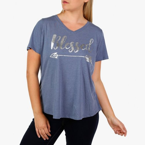 7601c70dd Women's Plus Short Sleeve Blessed Tee - Chambray Blue