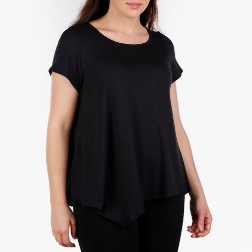 7708496dc22 Women s Plus Solid Pointed Hem Top - Black